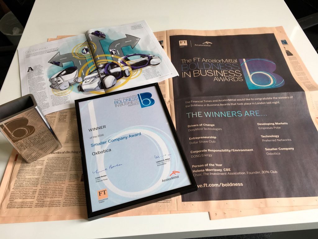 Oxbotica wins FT Business Award