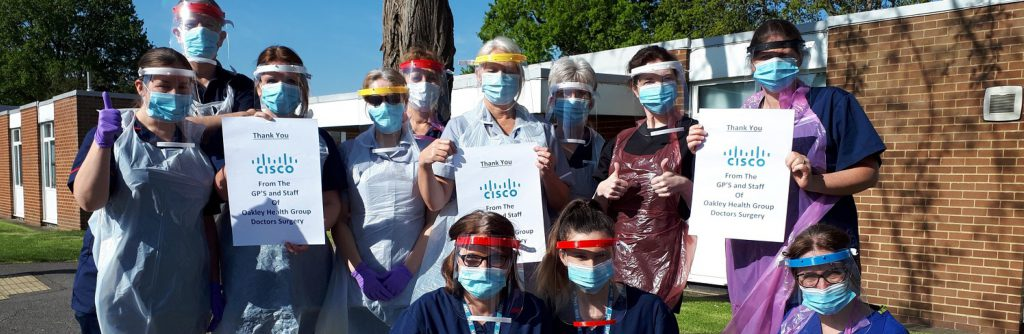 Covid-19 Faceshields gifted from UKAEA and Cisco